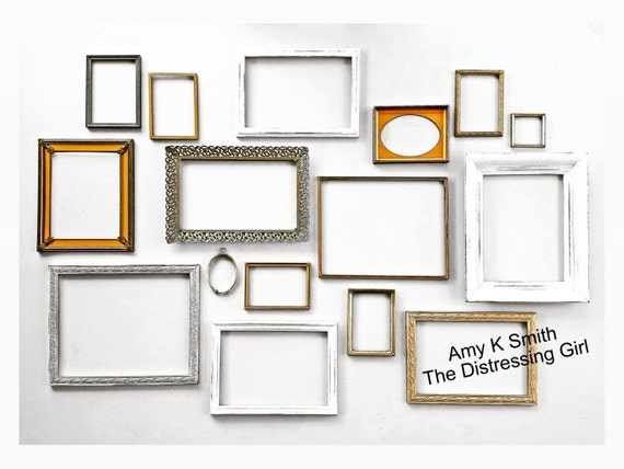 16 piece large gallery wall frame set gold metal mixed metals rustic wood frame set