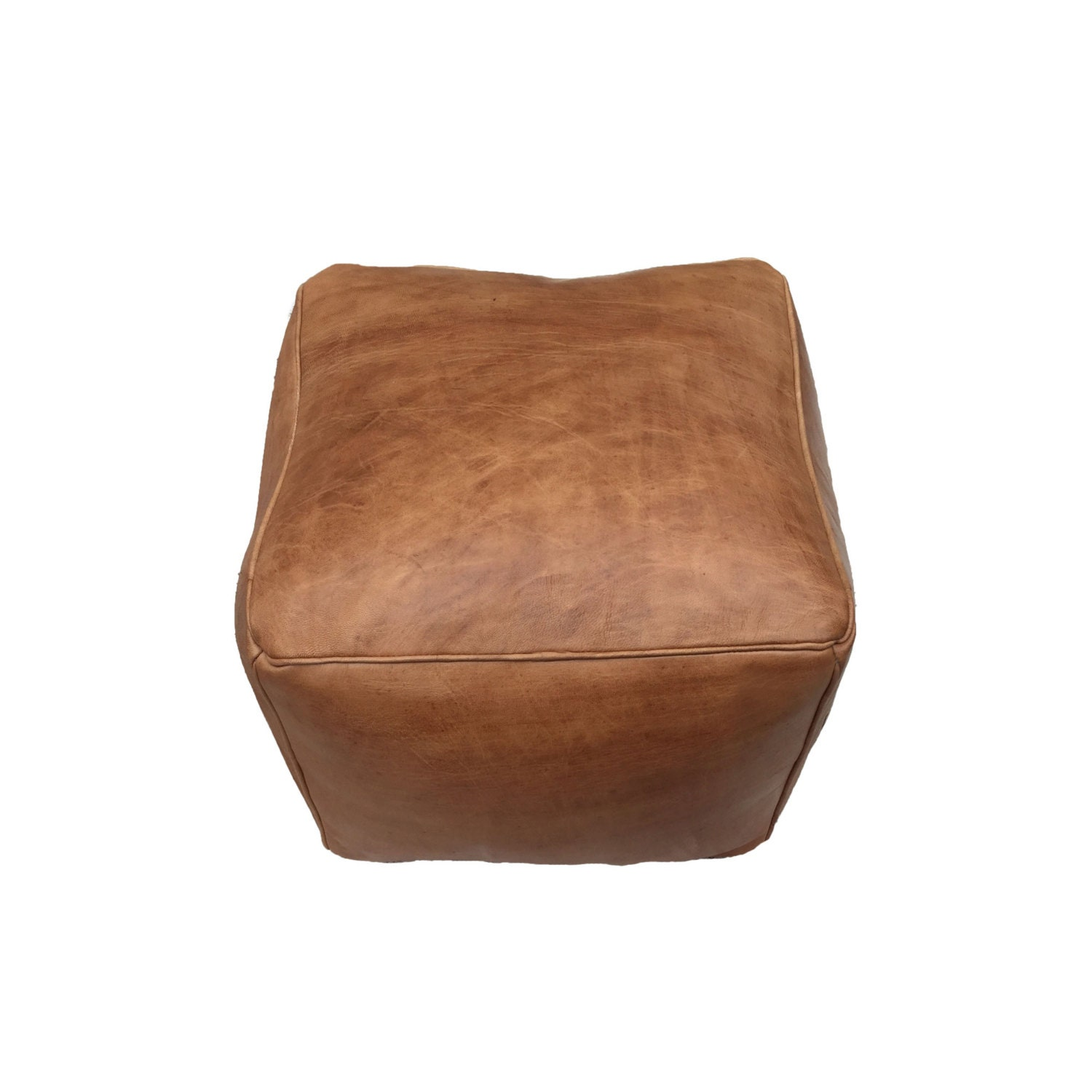 Leather Pouf Ottoman Natural Brown Leather Large Cube In