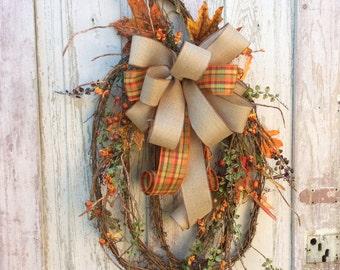 Grapevine Pumpkin, Pumpkin Wreath, Fall Swag, Pumpkin Swag, Autumn Swag, Fall Wreath, Autumn Wreath, Pumpkin Wreath,Thanksgiving Wreath