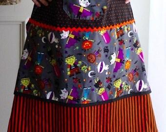 Halloween Apron, women's cooking apron, fall party attire, kitchen wear