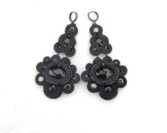 Long Black Earrings - Dangle Earrings , Soutache Earrings , Chandelier Earrings , Black Earrings , Bohemian Earrings