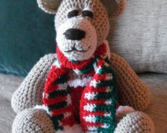 "Crocheted  Christmas teddy bear stuffed animal doll toy ""Snuggles"""