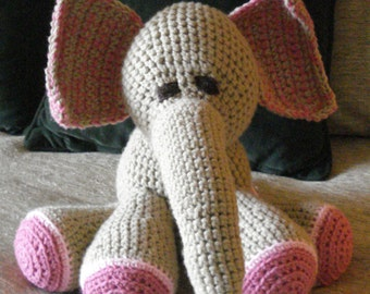 "Crocheted elephant stuffed animal doll toy ""Elwood"""
