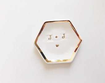 Personalized Ring Dish with Gold Trim - Personalized Dish - Personalized Gifts - Wedding Gifts - Bridesmaid Gifts
