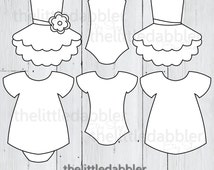 Baby Dress and Tutu Templates - Baby Shower Girl Onesie Dress Banner Invitation - Tutu Tulle Bodysuit Invitaton Banner - 300 dpi PNG & PDF