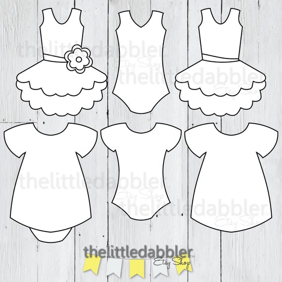 Dress And Tutu Templates Baby Shower Girl Onesie Baby Dress