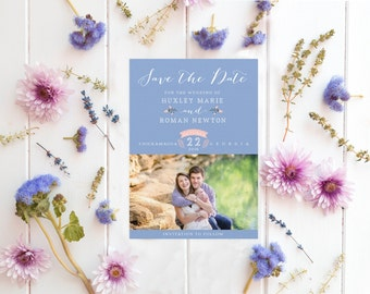 Modern Colorful Save the Dates - Photo Boho Save the Dates - Rose Quartz and Serenity Save the Dates