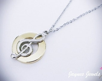 Clef Circle Necklace, Treble Clef, Mixed tone, Music note necklace, Music Jewelry, ,