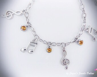 Music Note Charm Bracelet, Quaver, Semiquaver, Yellow crystal drops, music bracelet for girls who LOVE music