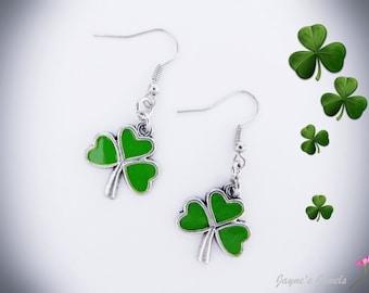 Shamrock Earrings, St Patricks Day, Green Shamrock, Lucky Shamrock, Irish Shamrock, Coupon Code:  XMAS10,