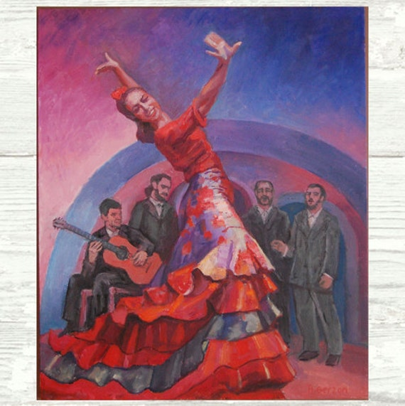 Spanish Dancer, Flamenco Art PRINT, Dance Performance, Passion, Music, Spain, Singing, Art