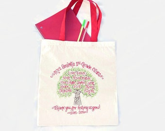 FREE SHIPPING- Personalized Teacher Tote Bag - Teacher's Appreciation End of School Year Graduation Class Gift Family Tree