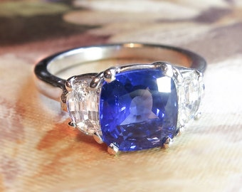 Estate 3.03ct t.w. Cushion Sapphire & Cadillac Diamond Three Stone Platinum Ring