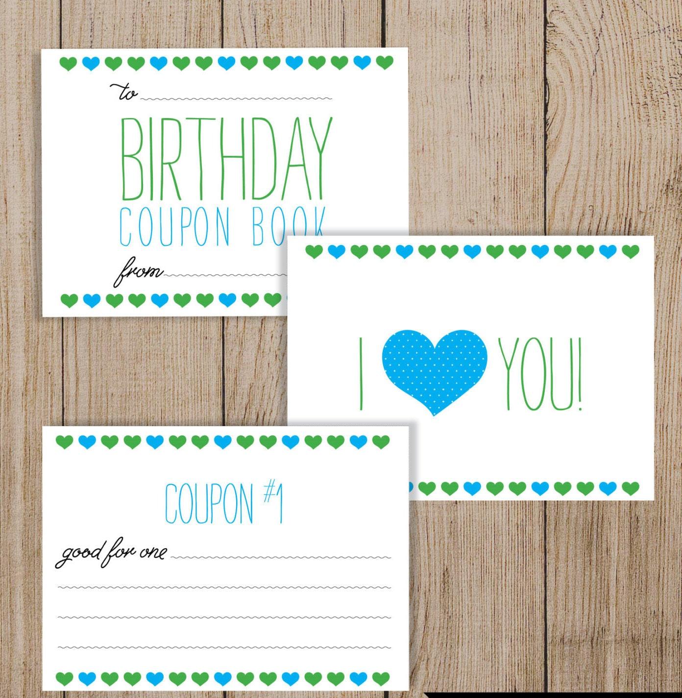 Printable Birthday Coupon Book. Editable PDF. DIY Birthday