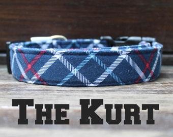 "Dog Collar in Blue Plaid Boy Buckle Collar, ""The Kurt"" by Bullenbeisser"