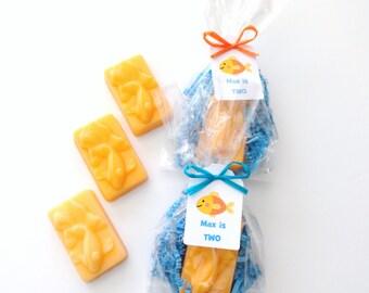 12 Orange Goldfish Soap Favors with Custom Tag, Birthday Favor, Aquarium Theme Birthday, Kids Favors, Childrens Soap, Set of 12