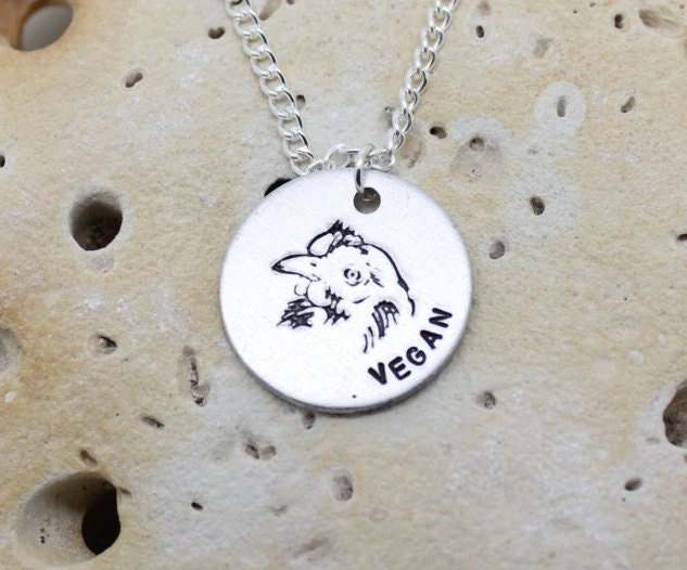 Vegan Chicken hand stamped necklace - exclusive design