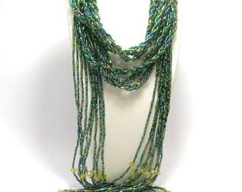 1920s Flapper Tassel Necklace - Art Deco Sautoir - Rainbow Green/Blue - Vintage Necklaces