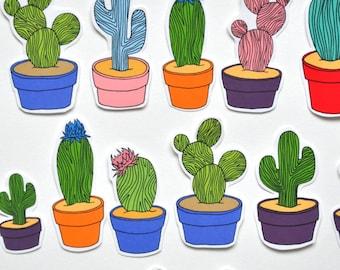 10 Cactus Stickers - Cute Cactus Drawing Illustration Illustrated Cacti