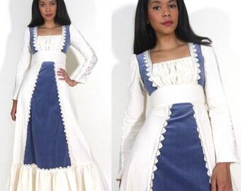 Vintage 70s Gunne Sax White Crochet Lace Blue Velvet Renaissance Maxi Dress Wedding