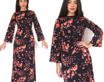 Vintage 70s Black Red Lily Floral Bell Sleeve Maxi Dress Caftan Hippie Glam