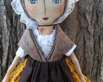 Primitive folk cloth doll, doll country, France-Provence,Provencal fabric