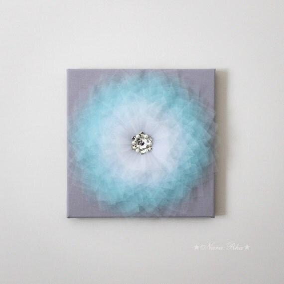 Aqua flower flower decor nursery art 3d flower canvas home for Room decor embellishment art 3d