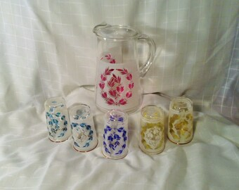 Colorful Serving Set of Pitcher and 5 Drinking Glasses - Red, Green, Blue, and Yellow Design with Leaves and Berries