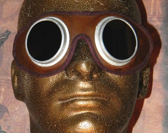 Awesome Antique Steampunk Tinted Goggles - Very Good Condition Leather and Glass Antique Goggles for Steampunk Fans