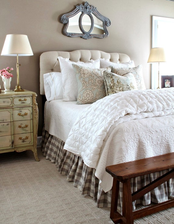 chocolate beige gingham bed skirt king size by thenewhome. Black Bedroom Furniture Sets. Home Design Ideas