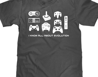 Funny Gamer T Shirt - Nerdy Gaming Tee Shirt - I Know All About Evolution - Item 1590