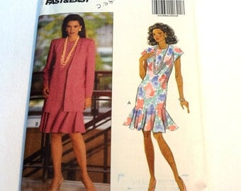 Vintage 1990s Butterick 5987 misses jacket and dress with flounced hem sewing pattern