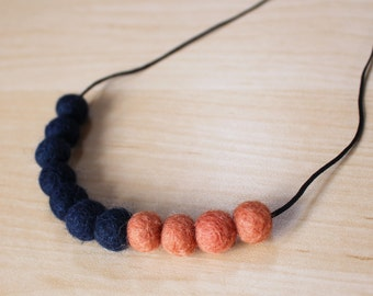 Felt Ball Necklace // Navy & Apricot // Navy Days