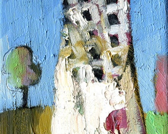 THE TOWER - Original Fine Art - Oil Painting - Manchester - ElizabethAFox - Abstract Painting - City Painting