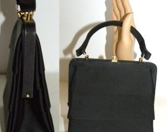1950s Purse / Coblentz / Handbag / EVENING BAG / pocketbook / structured / box / satin / pleated / structured / Rhinestone / 50's Luxury