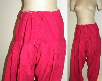 Vintage Sari Pants / Harem Pants / drawstring waist / Bright Pink / Festival / Tribal / Bohemian / free size
