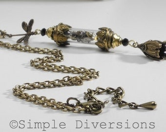 Steampunk Tube Necklace Vintage Watches Parts Tulips Dragonfly Simple Diversions Vial Industrial Neo Victorian Jewelry 11th Anniversaries