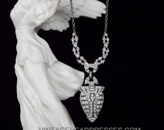 Original 1920s Art Deco Paste Pendant Necklace, Vintage 1920's Necklace, Gatsby Necklace, Rhinestone Bridal Necklace, Wedding, Paste Pendant
