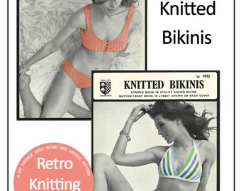 1970s Bikini Retro Knitting Pattern - PDF Instant Download - PDF Knitting Pattern