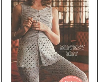 1970's Crochet Trousers and Sleeveless Top Pattern – PDF Instant Download - PDF Crochet Pattern