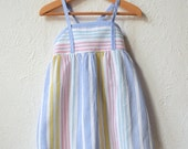 Ice Lolly - 1970's St Michael Pastel Stripe Dress - Age 12 to 18/ 18 to 24 Months