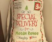 Personalized Santa Sack, Santa Sacks, Christmas Sacks, Christmas Stocking, Santa Claus Presents Bag, Add Your Child's Name
