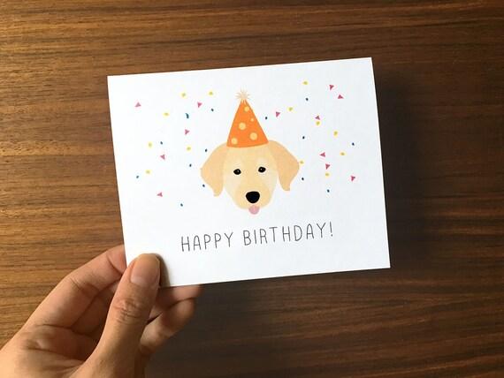 Stupendous Dog Birthday Card Golden Retriever Birthday Card Cute Personalised Birthday Cards Sponlily Jamesorg