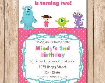 Mini Monsters Inc. Girl Birthday Invitation | Boo, Sulley, Mike, Randal - 1.00 each printed or 12.00 DIY file
