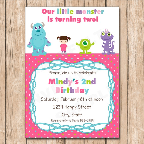 Mini Monsters Inc. Girl Birthday Invitation Boo Sulley