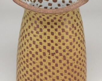 Yellow Art Deco Inspired Vase w/Checks