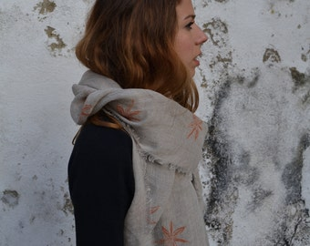 Handprinted linen scarf / wrap / stole Star Anise print