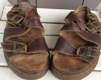 Brown Leather X Strap / Strappy / Fishermen Dr. Marten Sandals US Size 12 / UK size 11 / Euro Size 46