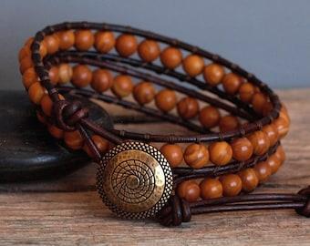 Mens Beaded Leather Bracelet, Petrified Wood Stone Bracelet, Mens Beaded Wrap Bracelet, Mens Leather Wrap Bracelet, Mens Double Wrap