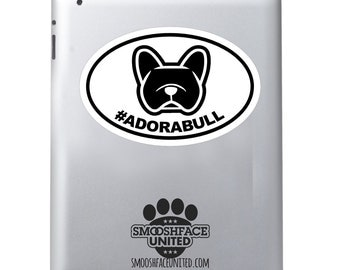 French Bulldog decal - #faBULLous or #ADORABULL - Frenchie decal - hash tag window cling - dog car vinyl oval sticker